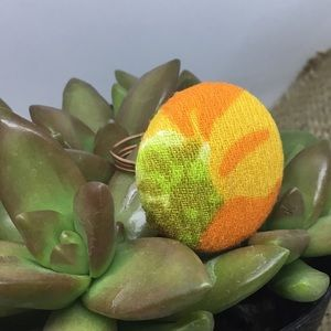 Wire wrap vintage floral cover button ring